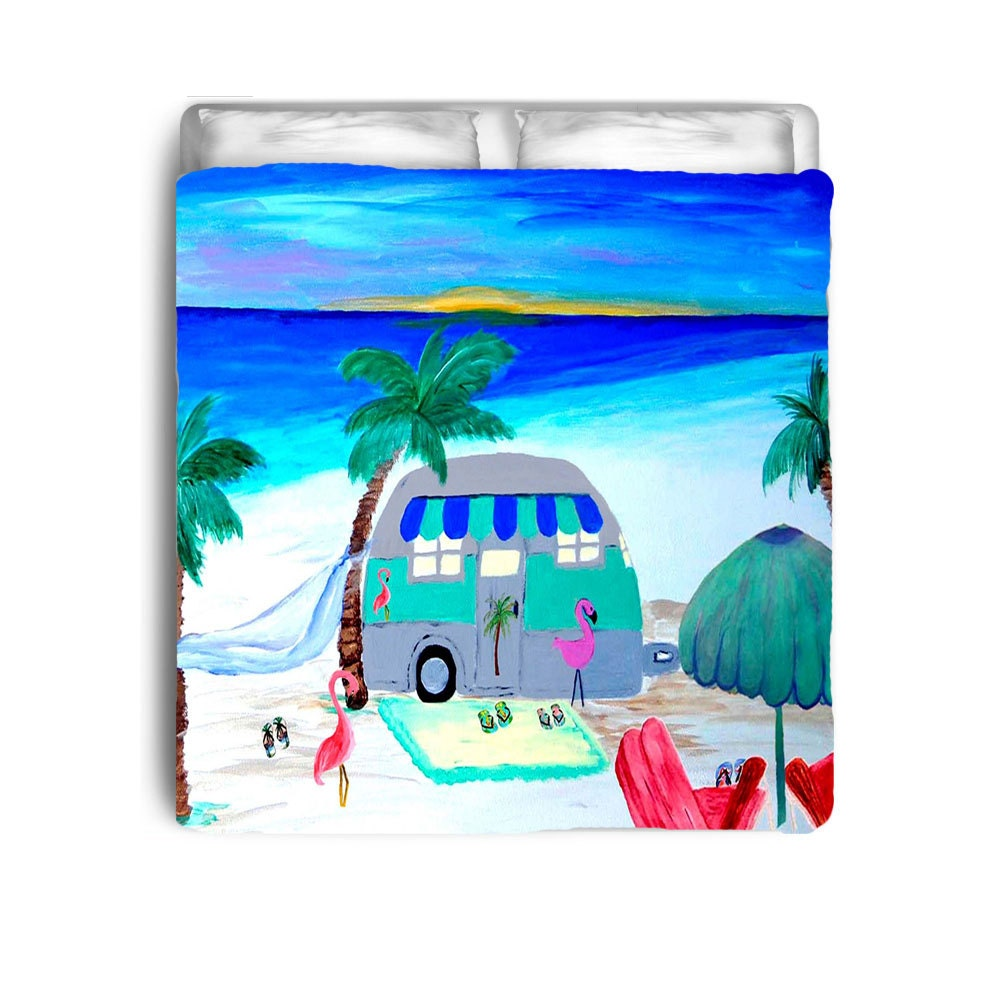 Air Stream Retro Camper At The Beach Comforter Or Duvet Cover