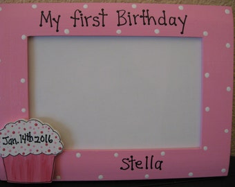 Girls first 1st birthday frame personalized picture frame