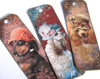 Dogs in Hats - Set of 8 - Dog Bookmarks - Book Accessories -Collie Bookmark - Mothers Day Gift - Book Nerd~Costumed Dogs - Animal Bookmarks