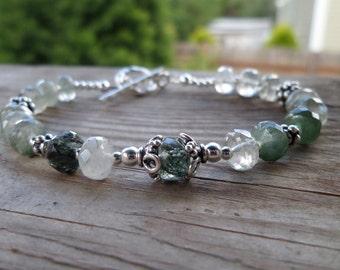 Actinolite Rutilated Quartz Natural Gemstone Bracelet (made for a small wrist)