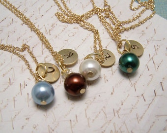 FOUR Personalized Pearl  Necklaces in Your Choice of Colors. Bridesmaid. Friendship. Love.Set. Bridesmaids. Bridal Party