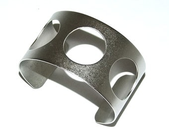 Antique Silver Plated Cuff 1.5 Inch Wide 3 Round Cutouts Ready Crafting Or Wear  SALE While Supplies Last
