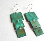 3 Square Verdigris Earrings