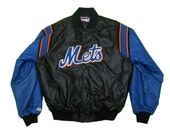 Vintage New York Mets Button Up Jacket in Blue and Black.