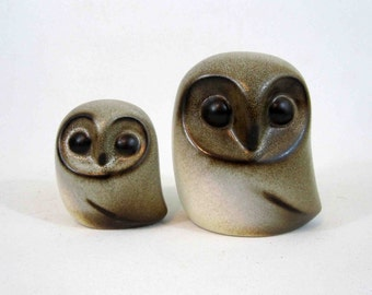 Vintage Mid Century Howard Pierce Pottery Owls. Circa 1960's.