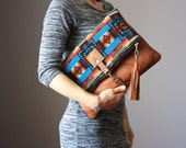 Southwestern Wool and leather bag, Large Leather foldover clutch, leather bag, wool fabric and leather clutch, leather tassel, fringed, boho