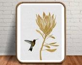 Hummingbird Print, Hummingbird Art, Bird Print, Flower Print, Gold Tropical Print, Gold Foil Print, Bird Lover Gift, Protea, Flower Drawing