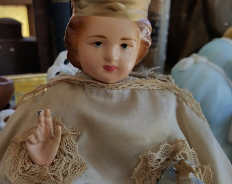 SALE - Vintage Infant Of Prague Chalkware Statue from Rustysecrets
