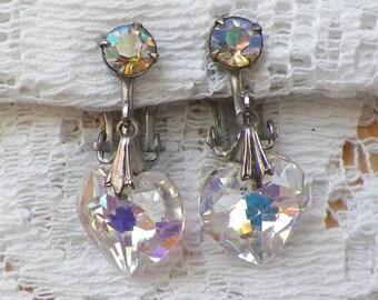 Vintage Dangling Iridescent Glass / Crystal Heart Clip On Earrings, AB / Aurora Borealis Wash, Rhinestone / Rhinestones, Dangle, Faceted
