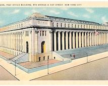 Vintage New York City Postcard - The General Post Office Building (Unused)