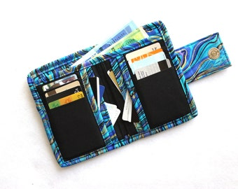 Bifold Wallet for women - Billfold Wallet - blue womens wallet - cash wallet - coin pocket wallet - card holder wallet - blue fabric wallet