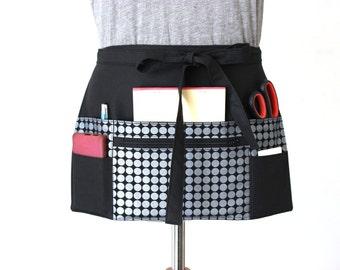 Vendor Apron - Waitress Apron - Craft Apron - Teacher Apron - Half Apron - zipper pocket - Black Metallic Silver Dot MADE to ORDER