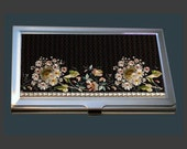 "Business Card Case - Vintage Embroidery ""Daises Galore"" (Early 19th Century) - Printed Reproduction"