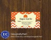Pumpkin Diaper Raffle Ticket, Fall Diaper Raffle Ticket, Pumpkin and Chevron Diaper Raffle Ticket, Baby Shower Instant Download