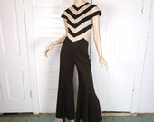 70s Jumpsuit- Open Back- 1970s Bell Bottoms- Chevron Stripes