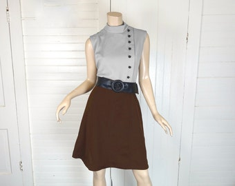 60s Mod Mini Dress in Brown & Gray- 1960s Sleeveless + High Neck- Office / Go Go / School / Autumn- Medium