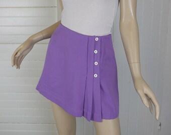 Lavender Mini Skirt or Skort- 1970s / 70s- Lime Green Striped- Pleated Kilt- Small