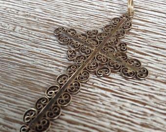Vintage Cross Gold Filigree Cross Pendant