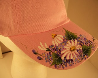 Women's Baseball Cap Pink with Hand Painted White Daisies