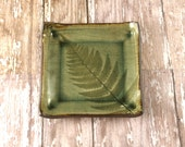Ceramic Dish, Pottery Plate, Ring Dish, Small Plate, Jewelry Holder, Tea Bag Holder, Tapas Plate, Fern Leaf, Decorative Plate, Soap Dish,916