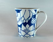 Blue and White Lotus Flower Coffee Mug, Hand Painted Ceramic Mug SKU 1510-6