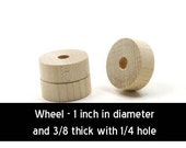 Unfinished Wood Circle Cutout Wheel - 1 inch in diameter and  3/8 inch thick with 1/4 hole wooden shape (WW-TWF100)