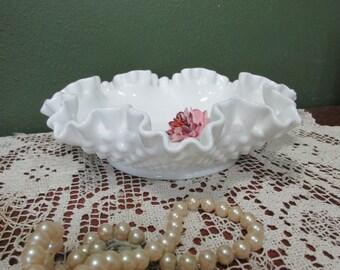 Fenton Milk Glass Bowl 7 inch Hobnail