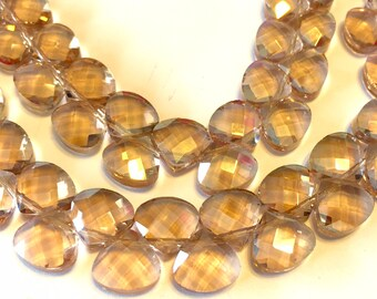 Peach Faceted Crystal briolettes 12 flat heart top drilled checker faceted