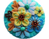 FB133 -  Japanese Art Inspired Handmade Mini Felt Brooch - Turquoise - Made to order