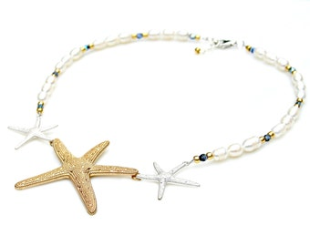 Starfish Necklace White Fresh Water Pearls Gold Silver Statement Beach Bride Wedding Island Ocean Resort Nautical Style by Mei Faith
