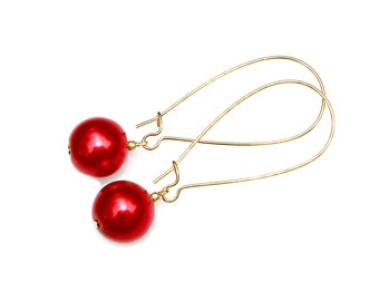 Pearl Earrings Candy Cherry Apple Red Swarovski Pearls Dangle Earrings Cranberry Holly Berry Holiday Classic High Fashion Style by Mei Faith