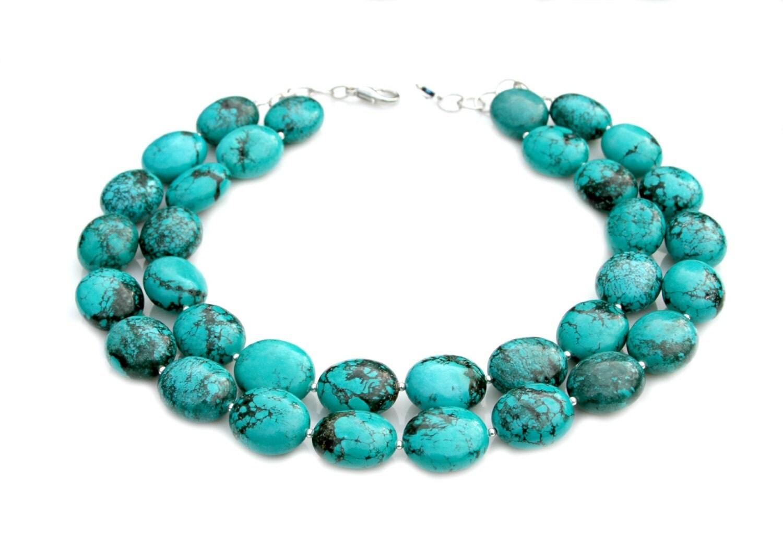 chunky turquoise necklace strand statement southwest