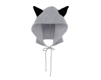 Raccoon Hoodie Hat - Fleece Tie Hooded Hat with Ears in Heather Grey and Black - Unisex Adult & Kids Sizes