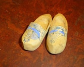 Vintage Wood Shoes Tiny Hand Carved Wood Shoes Sailboats Folk Art Primitive Wood Shoes