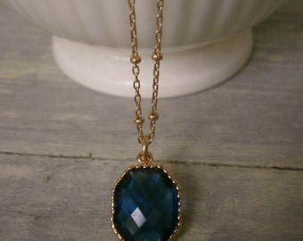 Sapphire Blue Pendant Necklace, Gold Necklace, Best Friend Birthday, Amethyst, Ruby, Aquamarine, Clear Crystal, Pink