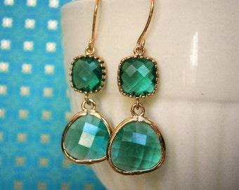 Teal Earrings, Gold Earrings, Bridal Jewelry, Bridesmaid Earrings, Best Friend Birthday, Mother's Day Jewelry