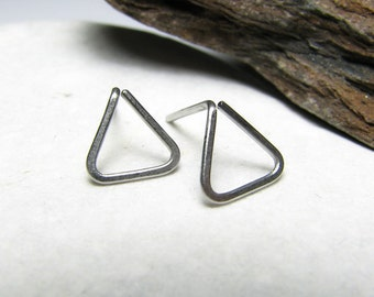 Stainless steel geometric studs Minimal earrings Small posts Triangle studs Geometric earrings Stainless steel earrings Womens gift For her