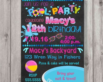 DIGITAL Chalkboard Style Summer Pool Party Birthday Girl Invitation Printable