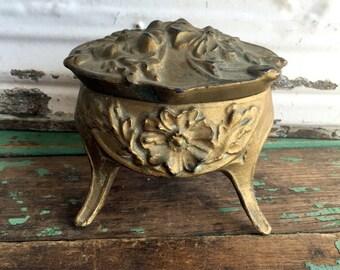 Art Nouveau JEWELRY Casket Box Rocco GOLD Gilt Repousse flowers Brassy Aged
