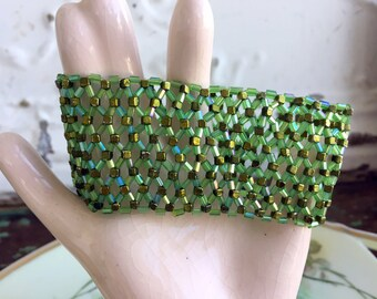 Vintage Green Glass Seed bead Stretch Bracelet Wide Boho Style