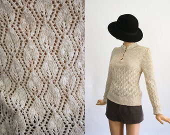 Vintage 70s Pointelle Knit Top / Victorian Inspired Crochet Sweater / 1970s Poet Blouse / Oatmeal / Natural Neutral / Medium / Large