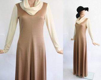 Vintage 70s Evening Gown / Huge Cowl Neck / Studio 54 / 1970s Grecian Goddess / Prom Dress / Maxi Hostess / Taupe / Avant Garde / Medium