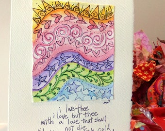 "Shakespeare ""til the sun grows cold, til the stars grow old"" Big Card"" 5x7""  Watercolor Original Matching Envelope Blank"