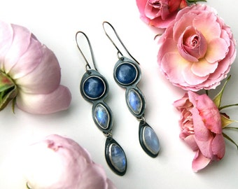 RESERVED - Droplets upon the Ocean - Kyanite and Moonstone Sterling Silver Earrings