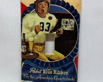 PBR Armchair Quarterback--Recycled Single Light Switch Plate Cover, Pabst Blue Ribbon Beer, Football, Americana, Red, Vintage, Collectible