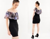 vintage 90s SHEER floral BODYBON black MINI dress S