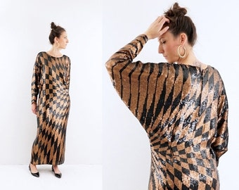 FALL SALE vintage 80s sequin bronze + black BATWING gown Maxi dress M