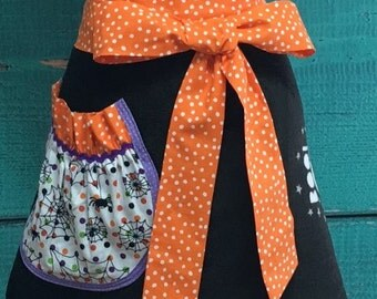 Towel Apron - Hostess Apron - Halloween - Ghost - Orange & Black