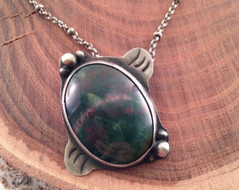 Fancy jasper and sterling necklace - the turtle