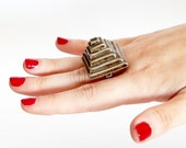 Pyramid Ring Ceramic Ring  - gold ring, statement ring, ceramic jewelry, cocktail ring, handmade ring by StudioLeanne